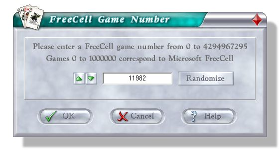 FreeCell Game Number Dialog Box